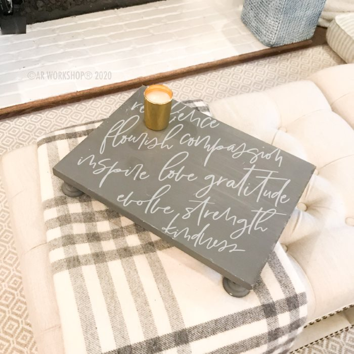 Inspirational Words Script Pedestal Tray