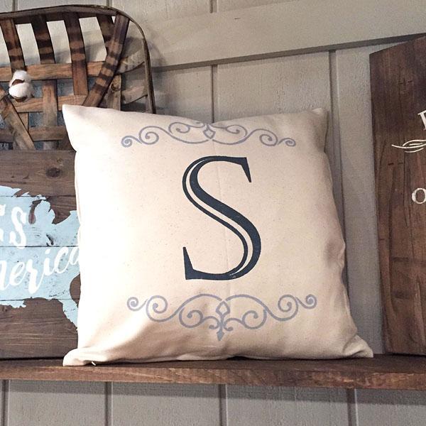 monogram initial pillow customized