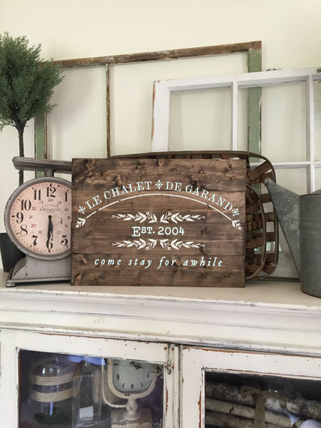 french chalet wood sign guest room decor