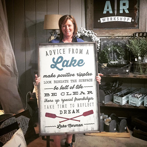 advice from a lake framed sign oversized