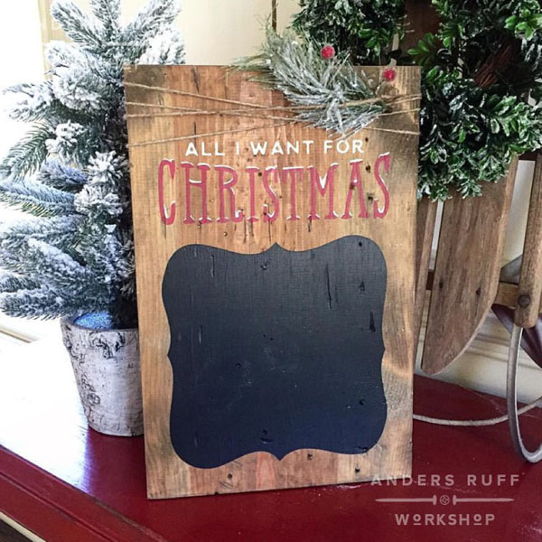 all i want for christmas wood chalkboard sign