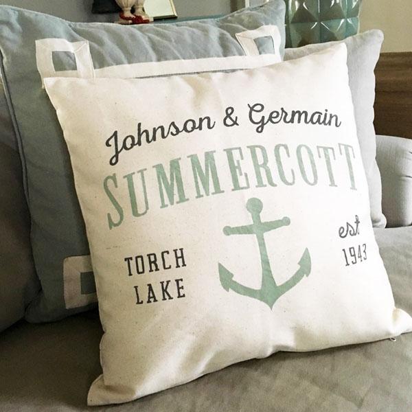 summer cottage lake pillow diy