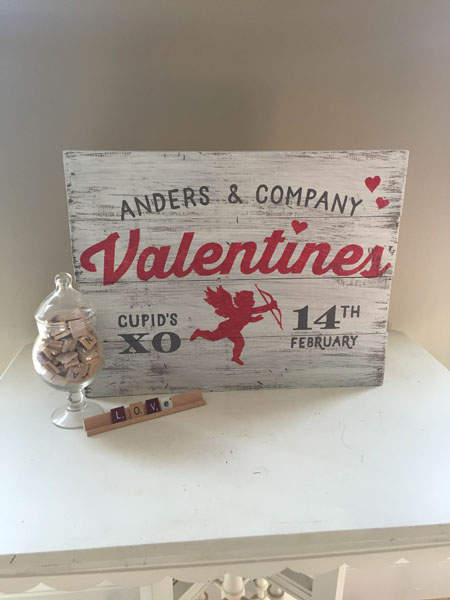 valentines cupid wood sign family name diy
