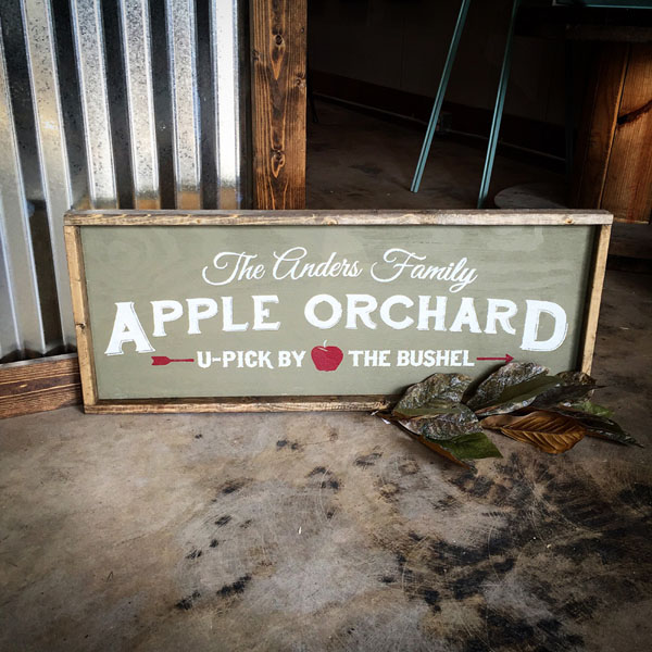 apple orchard wood sign family name u pick customized