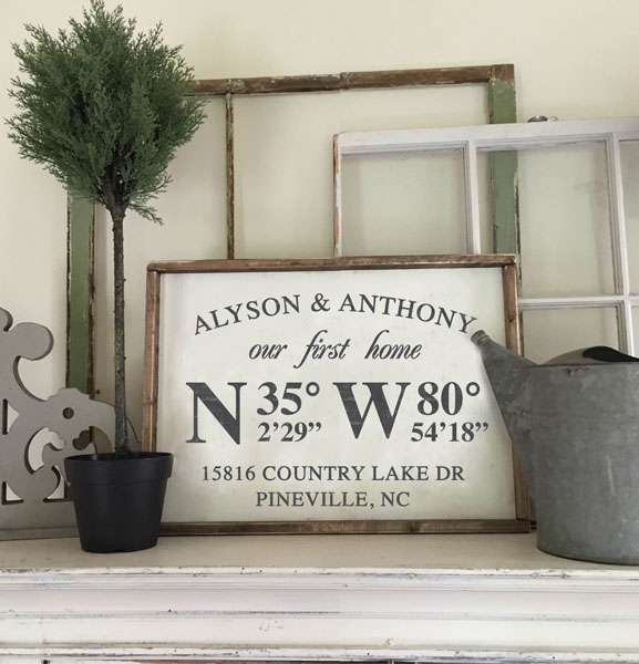 home coordinates address family wood sign customized