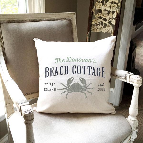 beach crab customized pillow name