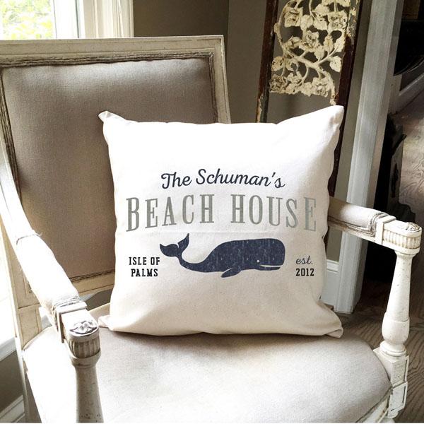 beach house pillow whale customized