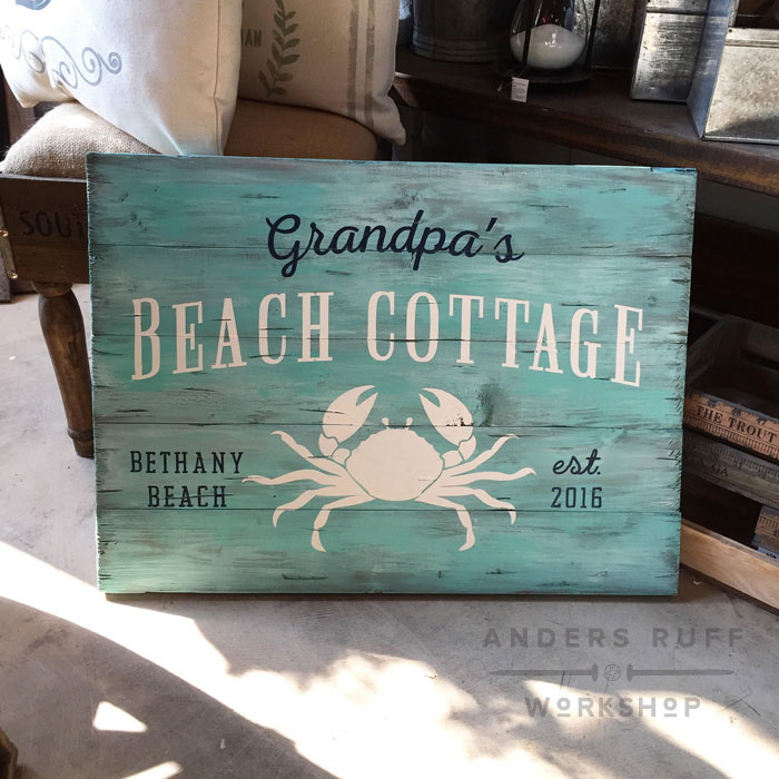 beach cottage wood sign customized