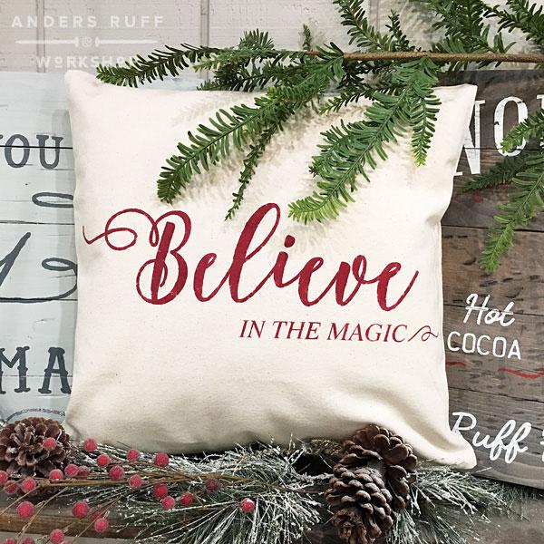 christmas believe pillow magic