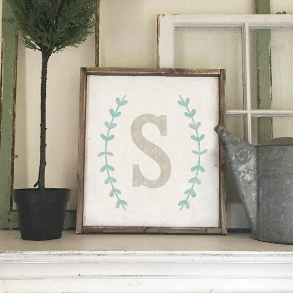 monogram initial boxwood wood sign decor