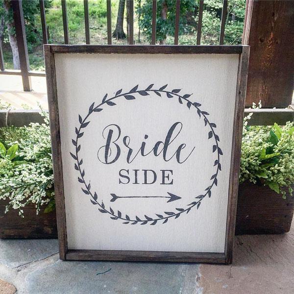 bride side wood sign wedding decor