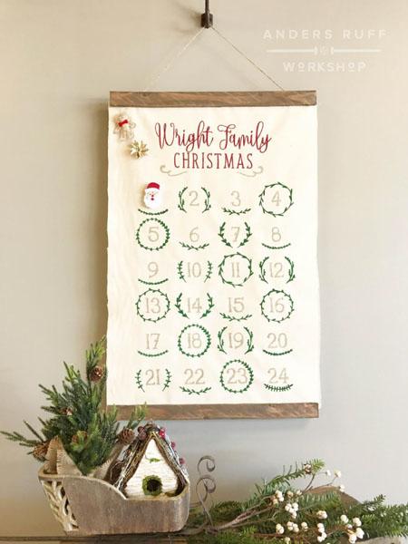 canvas hanging wood christmas advent calendar
