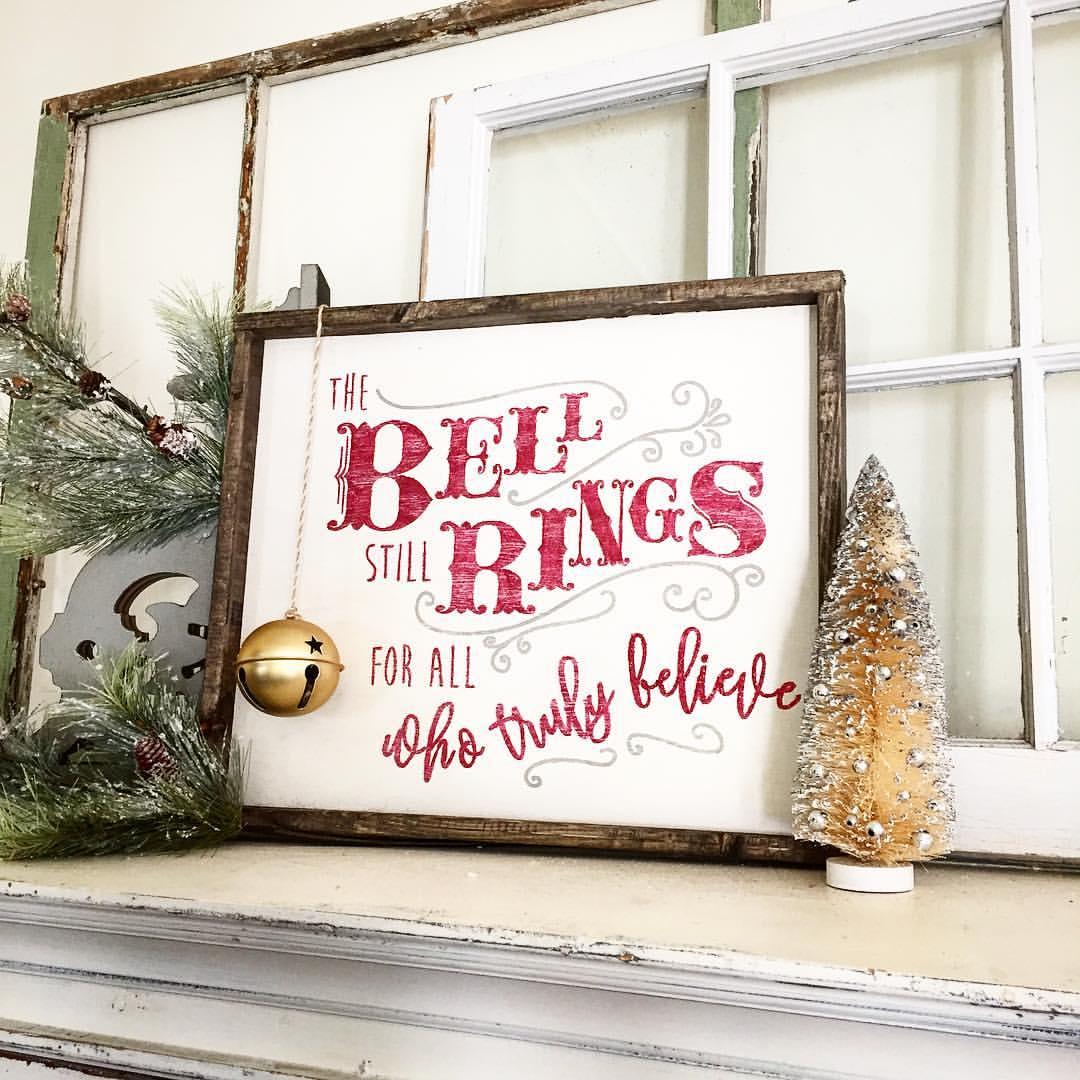 christmas bells home decor wood sign
