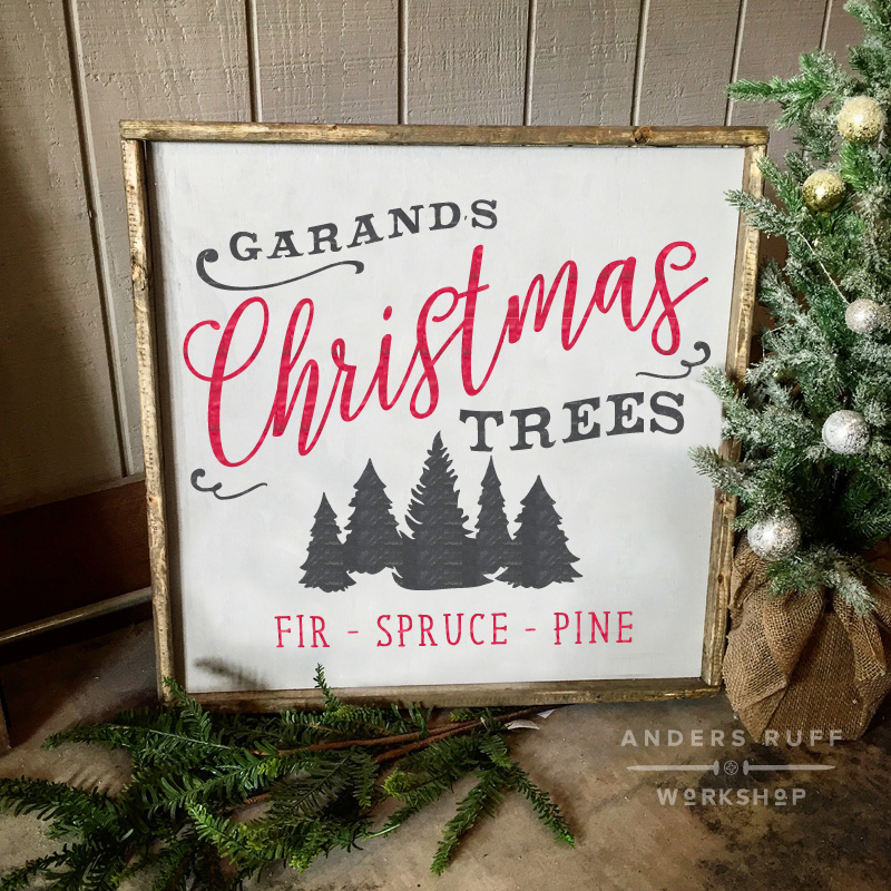 christmas trees customized framed wood sign