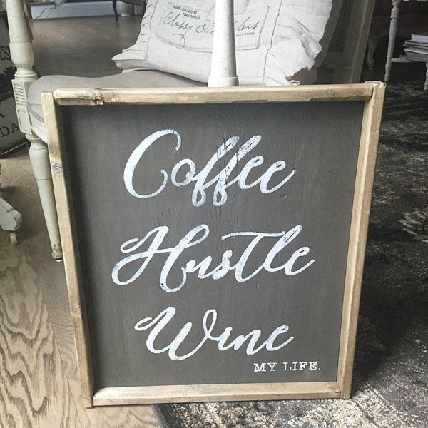 coffee hustle wine wood sign decor diy