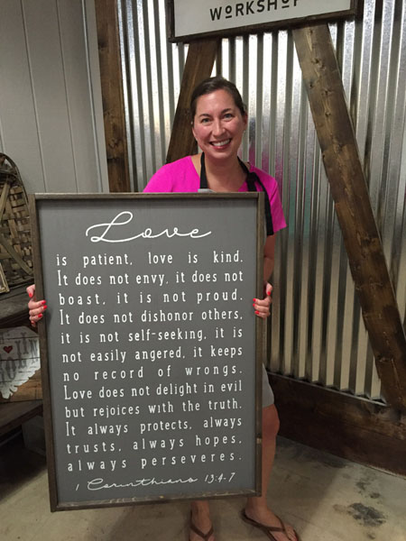 oversized love is patient one corinthians framed sign