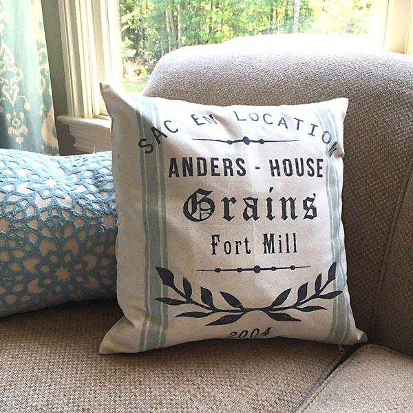 french grain sack pillow family name