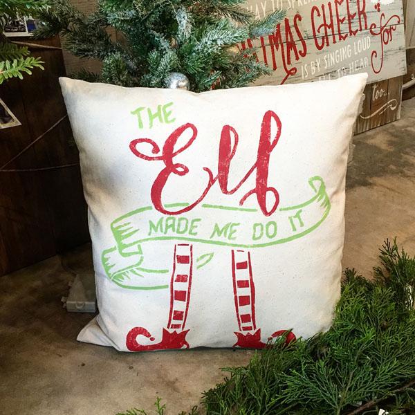 elf made me do it christmas decor pillow