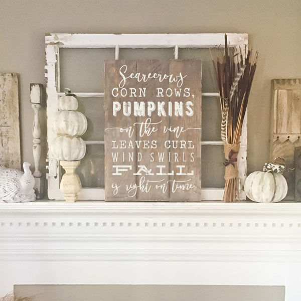 fall is right on time wood sign mantle decor autumn