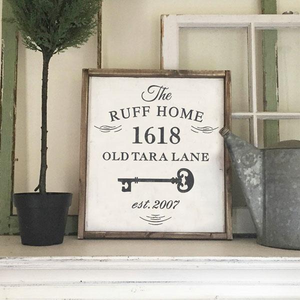 family address wood sign home decor established