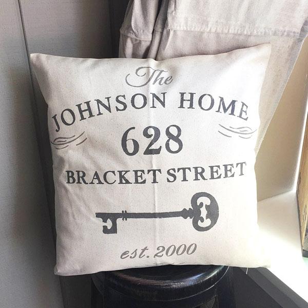 family name address pillow