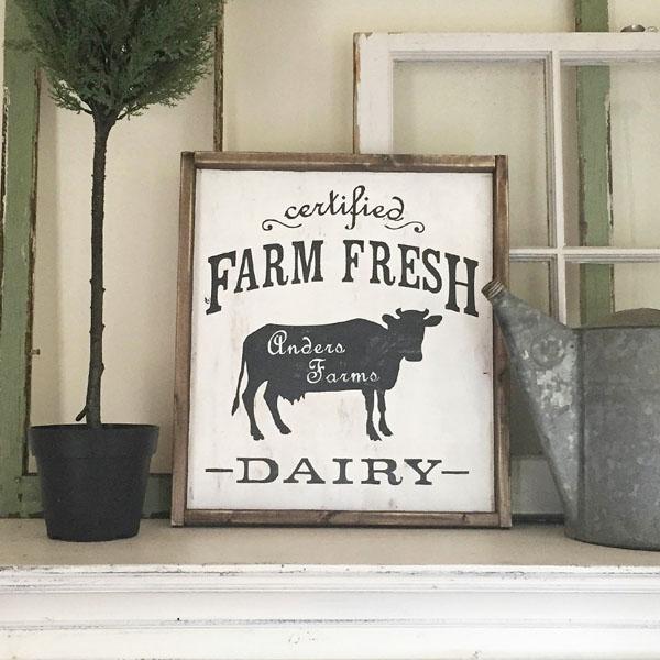 farm fresh dairy wood sign family name kitchen decor