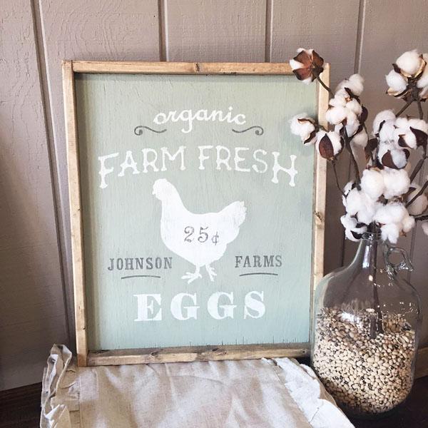 farm fresh eggs chicken wood sign customized diy