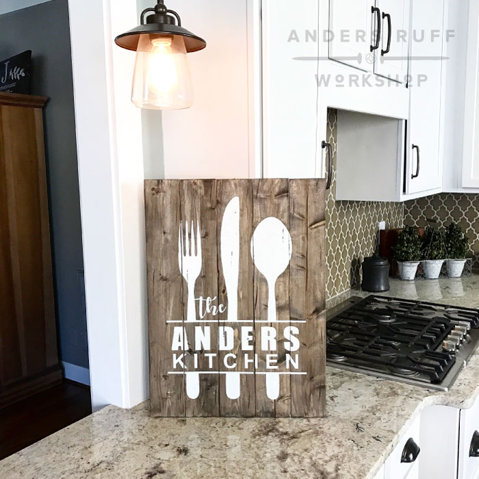 farmhouse kitchen sign utensil fork knife