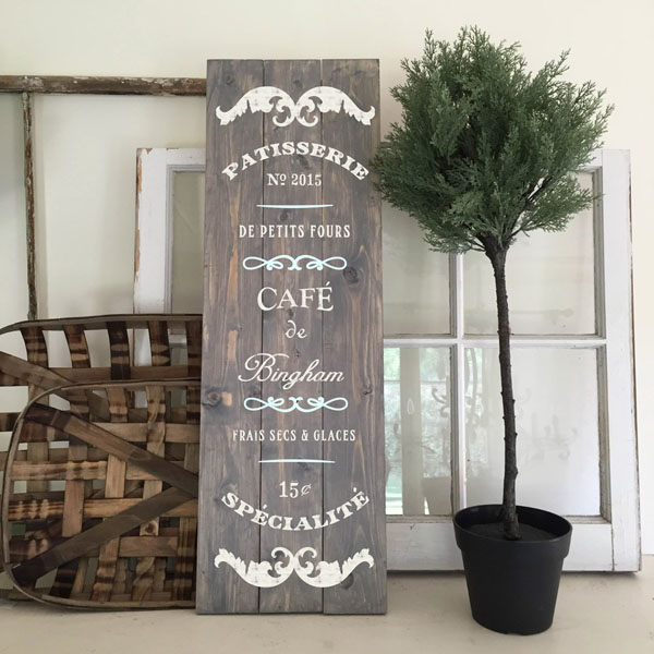 french cafe wood sign pallet patisserie