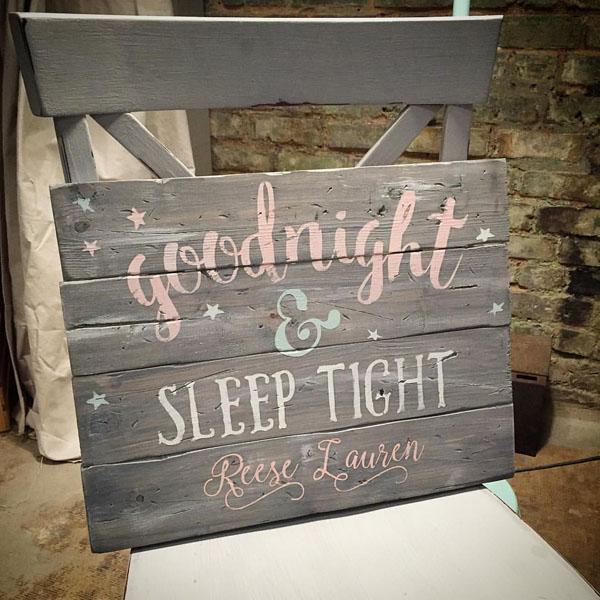 goodnight sleep tight wood sign nursery decor