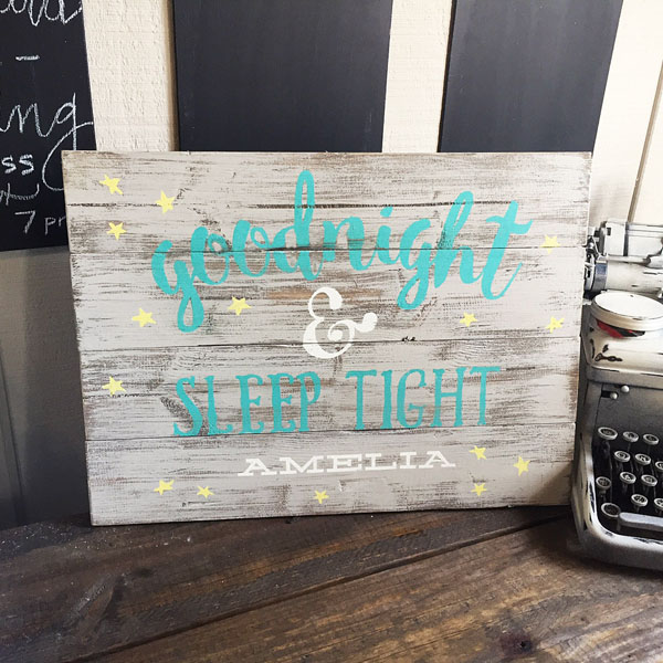 good night sleep tight nursery decor wood sign
