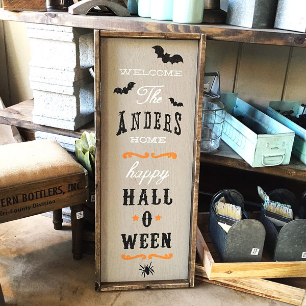 halloween welcome porch sign customized family name
