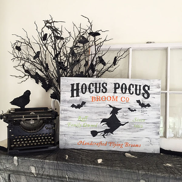 hocus pocus broom wood sign halloween decor