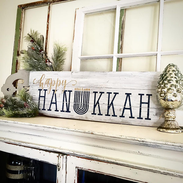 happy hanukkah wood sign decor