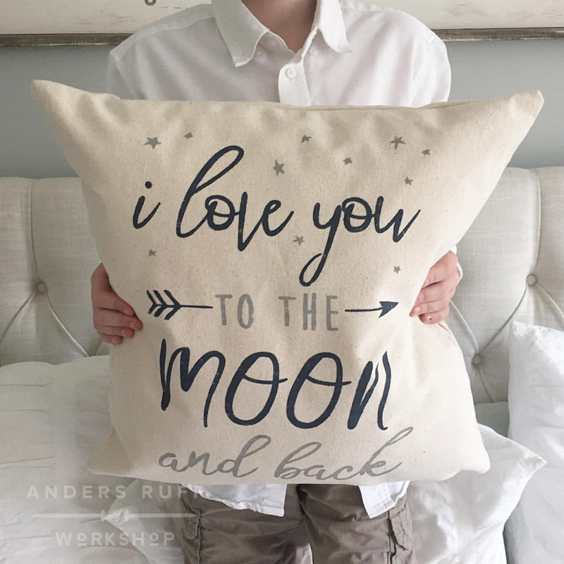 love you to the moon quote pillow cover child gift