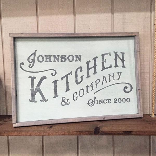 kitchen wood sign established family name