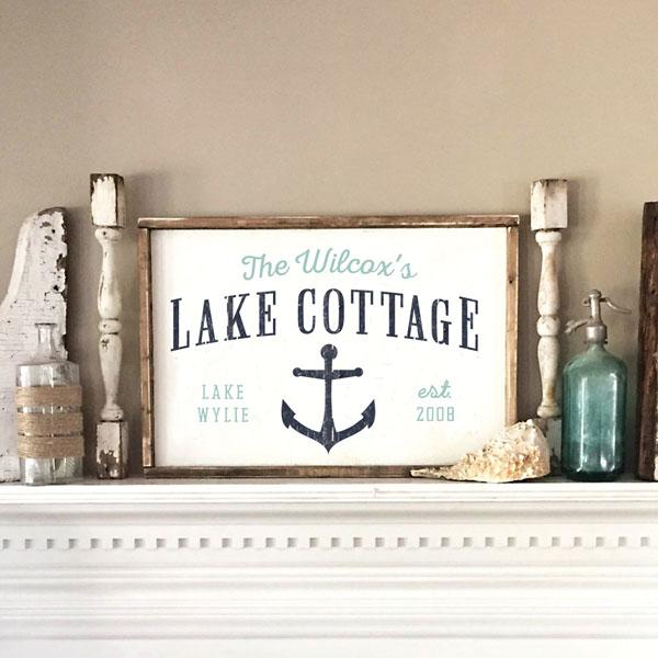 lake cottage wood sign anchor customized decor