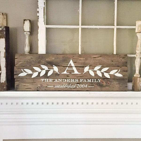 laurel branch monogram family name established wood sign