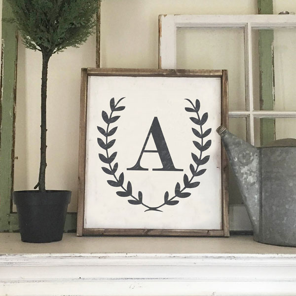 laurel wreath initial wood sign home decor customized mantle