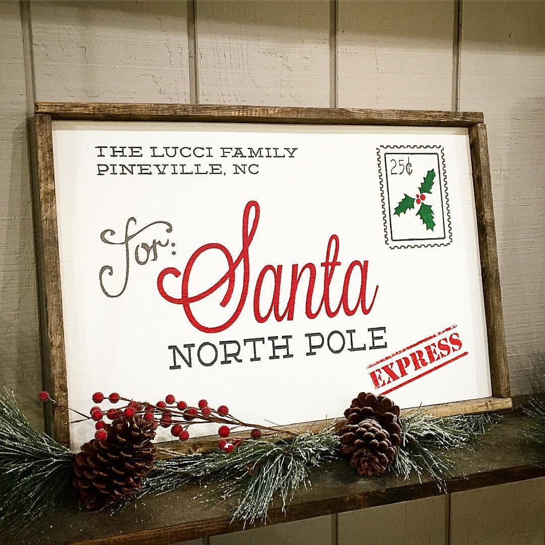 santa letter wood sign framed north pole