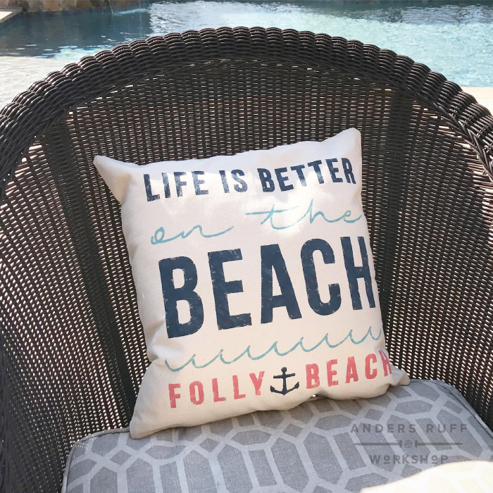 life is better canvas pillow beach pool