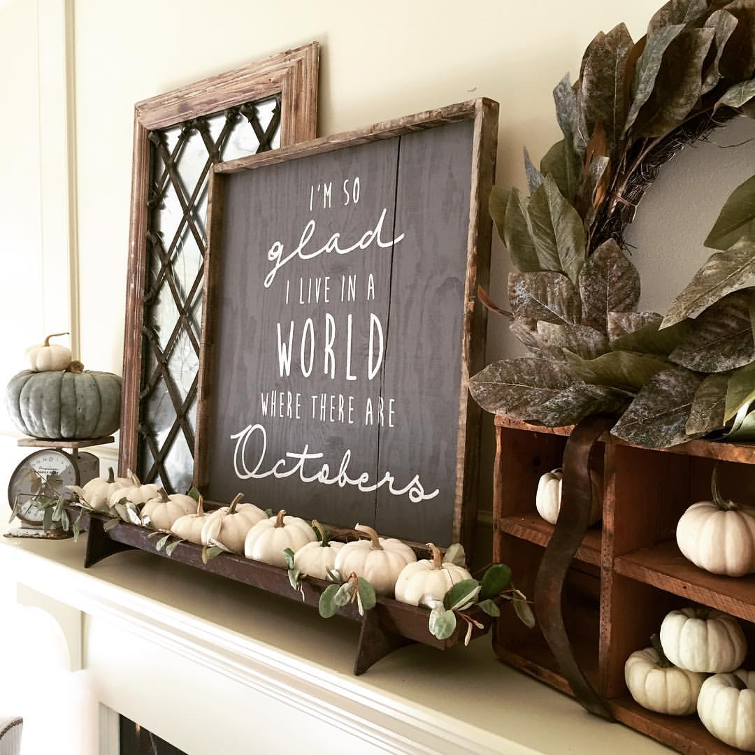 i'm so glad october wood sign framed