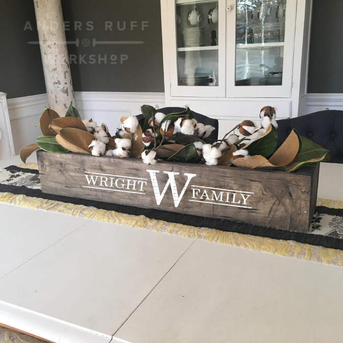 monogram wood centerpiece box