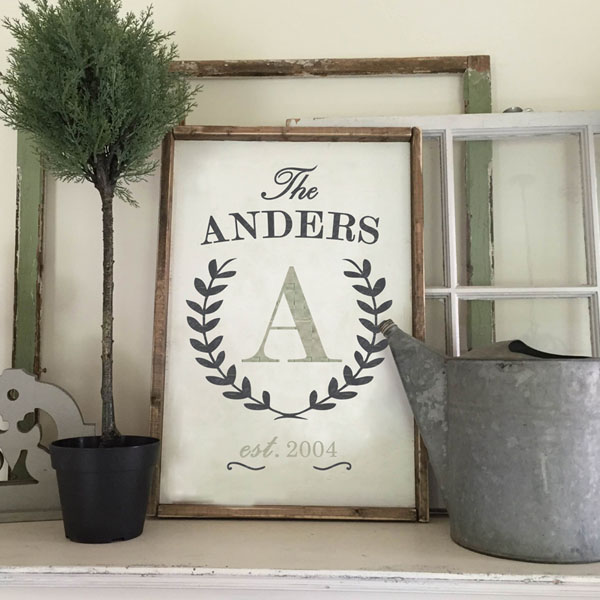 monogram initial wood sign mantle decor