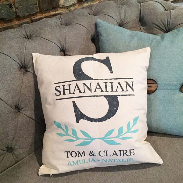 monogram names family pillow