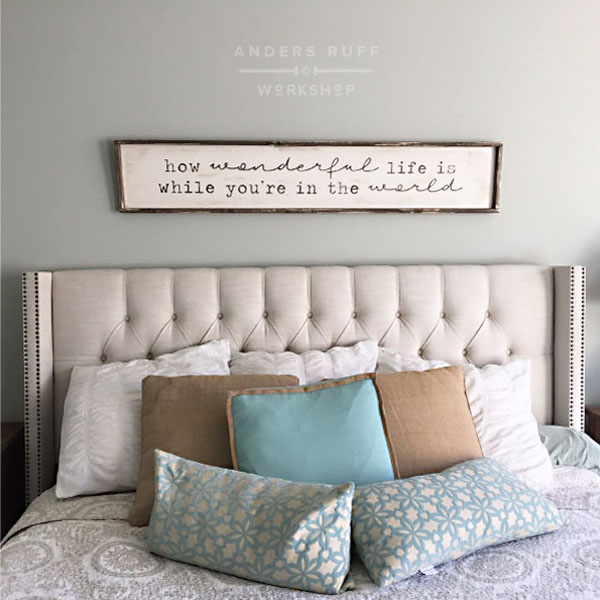 how wonderful life is over the bed framed sign 50x14