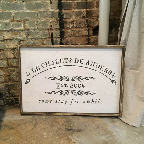 french chalet wood sign come stay awhile oversized sign