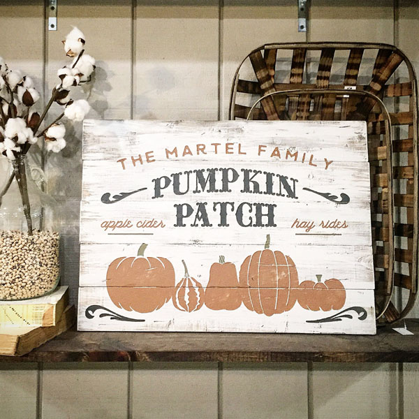 pumpkin patch wood sign family name customized fall decor