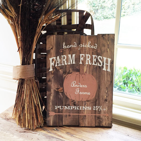 farm fresh pumpkins wood sign customized name diy