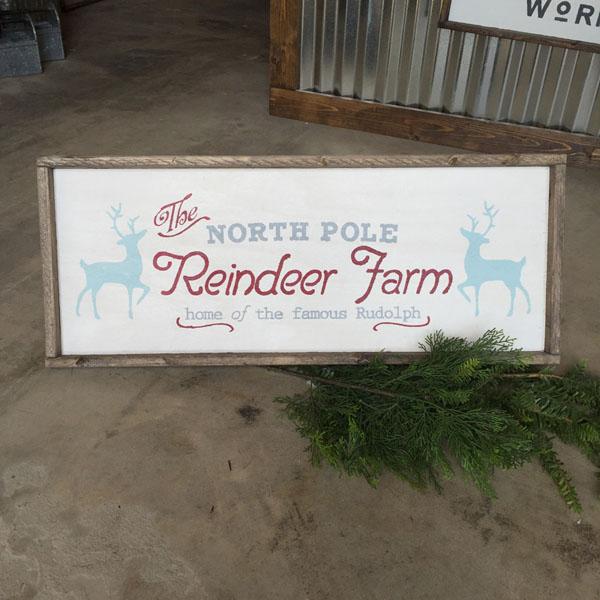 reindeer farm christmas wood sign holiday decor